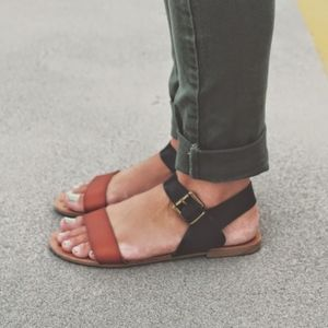 Cognac and black sandals